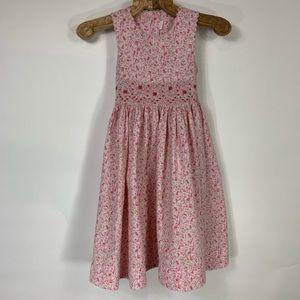 Traditional Smocked Dress Pink Floral Med 5 6 7 8